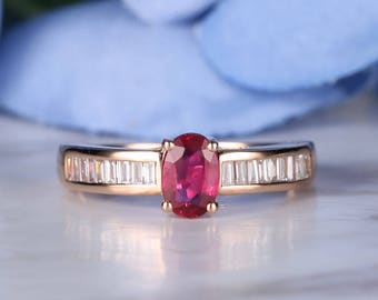 Oval cut Ruby engagement ring Vintage 14K Rose Gold Half eternity Baguette diamond wedding ring July Birthstone antique Delicate Anniversary