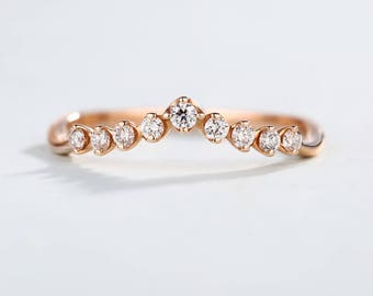 Curved wedding band Rose Gold Diamond Ring women Unique Dainty Simple Chevron Delicate promise Stacking Minimalist Anniversary Matching band