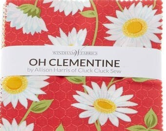 """Last One!!! Oh Clementine by Allison Harris of Cluck Cluck Sew - Oh Clementine Charm Pack Precuts - 42, 5""""x5"""" Squares - Charm Packs"""