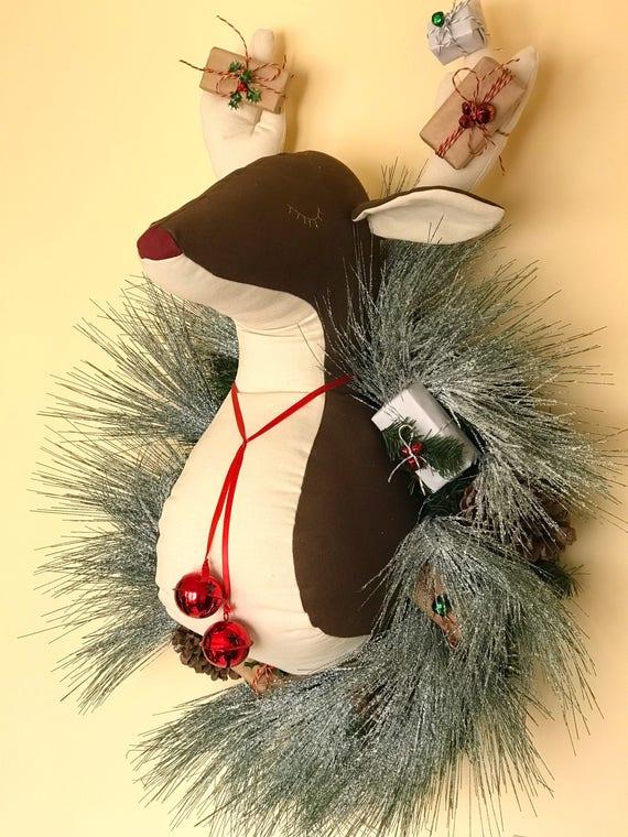 Handmade christmas reindeer wreath wall hanging. Faux taxidermy reindeer