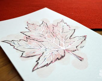 Canadian Maple Leaf | CANADA 150 | Hand Painted Print
