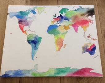 original water colour painting on canvas, world map