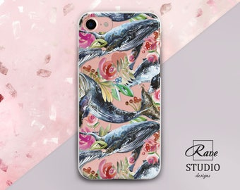 Whale iPhone case Flowers case iPhone case floral Whale iPhone se case iPhone 7 case whale Floral iPhone 5 case Whale painting print iPhone