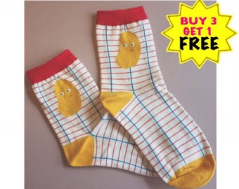 Gian P . Potato head , socks , gifts for him/her /cotton socks /funny socks , red socks