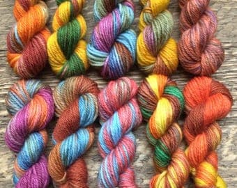 Hand Dyed Sock Yarn Mini Skein Set #66 -- 10 Mini Skeins/25 Yards Each/5.5 Grams Each