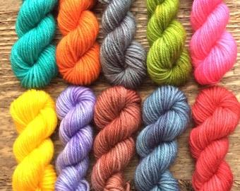 Hand Dyed Sock Yarn Mini Skein Set -- Tonal #11 -- 10 Mini Skeins/25 Yards Each
