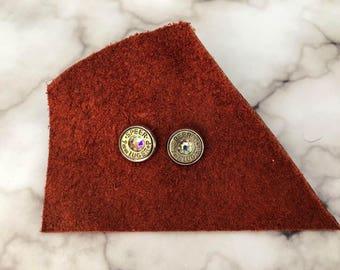 Rainbow and Silver Swarovski Bullet Stud Earrings