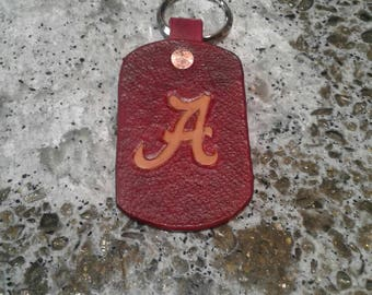 Alabama leather keychain, hand tooled, carved, dyed leather. Roll tide crimson wave