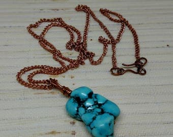 Genuine Copper and Arizona Turquoise Necklace