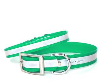 Green Reflective Waterproof Dog Collar - Reflective Waterproof Green Dog Collar - Smell Resistant GreenDog Collar - Smell Proof Dog Collar