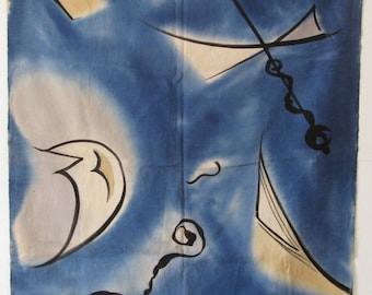 piece of vintage 1940's hand-painted silk/linen weave