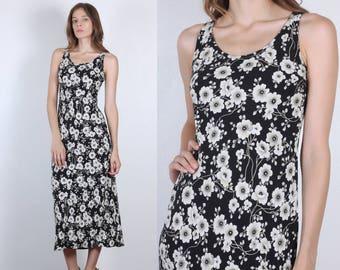Grunge Floral Dress // Vintage 90s Black White Column Sleeveless Maxi - Small
