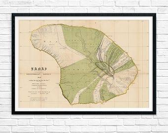 Hawaii Lanai Map, Hawaii Poster, Vintage Lanai Map 1878, Hawaii Map, Maui Art, Hawaii Art, Hawaii Poster, Vintage Map Decor, Wall Art
