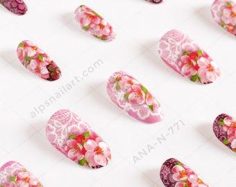 Press On Nails - Pink Floral Nails- Glue On nails - wedding nails- Faux Nails -artificial nails - false nails - Free International Shipping