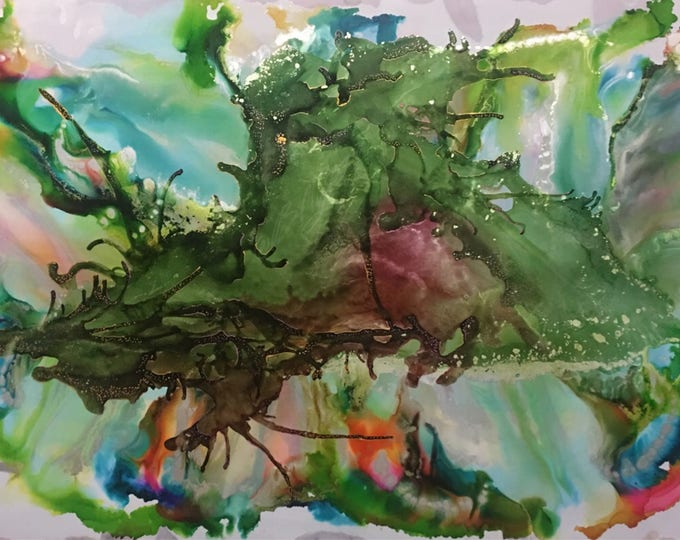 "Large Original Alcohol Ink Abstract: ""Above and Below"" (23"" x 35"")"