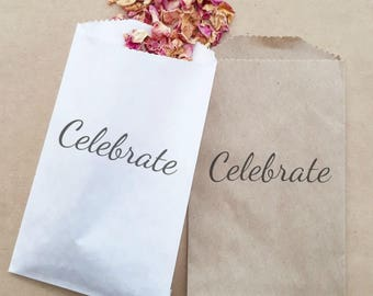 Wedding Confetti Paper Bag Stamped Celebrate Exit Ceremony Toss x 20