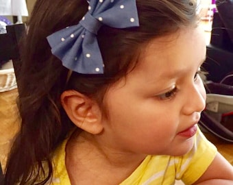 Denim polkadots bow headband, bow headband, fabric headband, babygirl headband, girl headband, hair accessory
