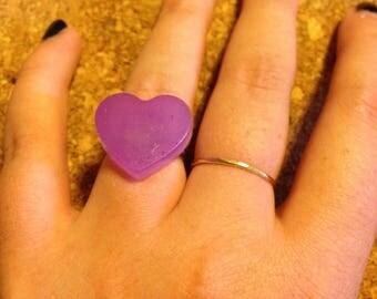 Handmade Heart Ring -  Purple