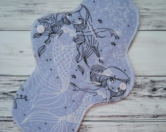 """Washable Cloth Pad Mermaid 10"""" Moderate - Zorb Core - Mama Cloth - Reusable Cloth Pad - Cloth Pantyliners - Menstrual Pad - Period Pads"""