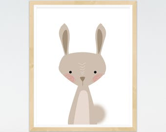 Rabbit Bunny Print, Nursery prints, Woodland Nursery, Wall Art, Nursery Decor, Animal Art, Forest Theme, Animal prints, baby Animals Prints,