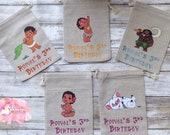 Moana Theme Burlap Goodie Bags | Party Favors | Moana Birthday