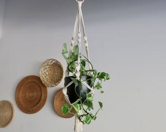 RESERVED- CHARITY DONATION Classic White Macramé Plant Hanger