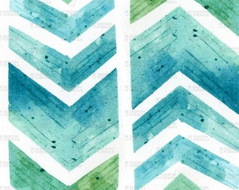 Geometric Watercolour Chevron by Hazel_Fisher_Creations - Cotton/ Polyester/ Jersey/ Canvas/ Digital Printed