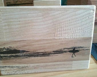 Surfer on wood
