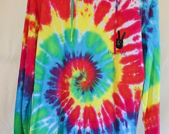 25% OFF ENTIRE SHOP Adult Size M - Ready To Ship - Unisex - Tie Dyed - Long Sleeve Hoodie T-shirt - 100 Percent Cotton - Free Shipping withi