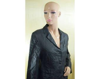 Vintage Yell women black blazer linen