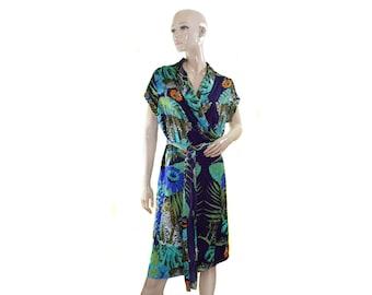 Vintage women dress multicolor jungle