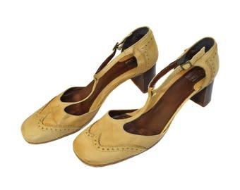 Vintage Gortz women sandals shoes real leather size 42 beige Gomma Davos