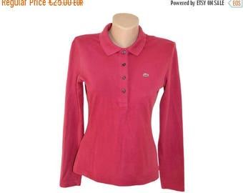 Vintage Lacoste women polo shirt golf purple 94% cotton 6 elastane Size 42