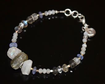 Labradorite, Moonstone, Tanzanite and Lotus Bracelet~ Energy Beaded Bracelets~ Gift ideas For Her