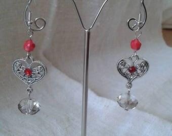 heart and Red rhinestone earrings