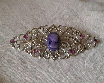 """brooch """"silver and cameo print purple"""""""