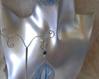 Blue and silver wire earrings