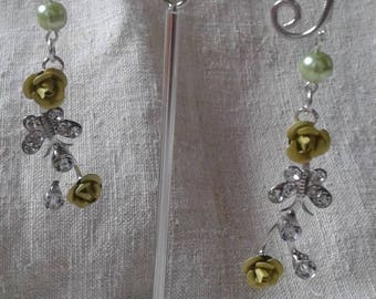 """butterfly and metal flower"" earrings"