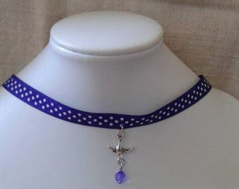 """""""Ribbon with purple dots and bird"""" necklace"""