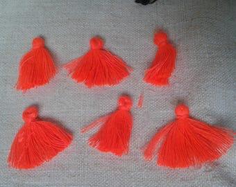 set of 5 neon Orange tassel