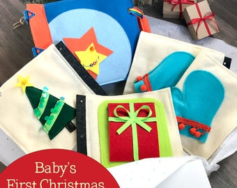 Baby's First Christmas Quiet Book for 1 Year Old Boys - Educational Toy - Keepsake Felt Activity Book - Montessori - Best Xmas Gift for Baby