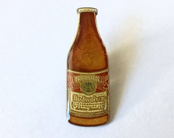 Vintage 1970's Budweiser Beer Bottle Enamel Pin - Collectible!