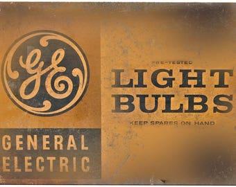 "Porcelain Look GE Light Bulbs General Electric 10"" x 7"" Retro Look Metal Sign"