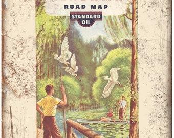 "1949 Georgia Alabama Raod Map Standard Oil 10"" x 7"" Reproduction Metal Sign A130"