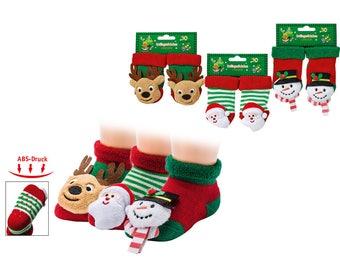 First socks baby rattle-socks-moose Snowman Santa Claus