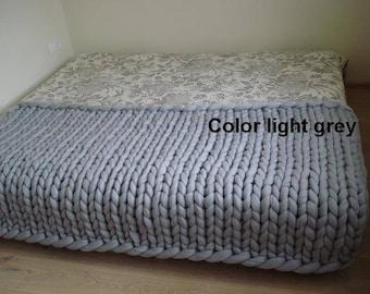 FREE SHIPPING!!!100% merino wool blanket Chunky wool blanket  wool blanket Arm knit blanket Super chunky blanket Chunky knit blanktet