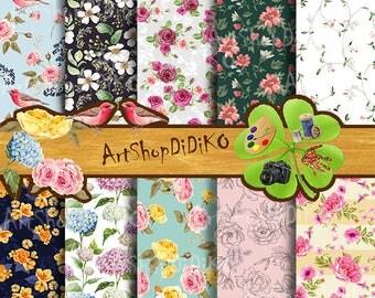 Floral digital paper, designer paper, Spring Flowers Digital Paper, Printable paper, digital download, instant download, Scrapbooking