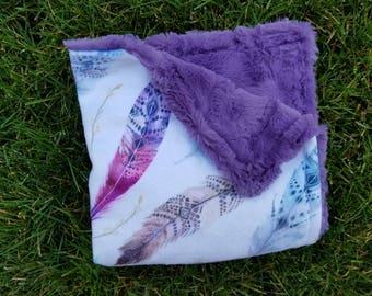 Feather Blanket-Boho Blanket-Feather Nursery-Feather Decor-Baby Blanket-Baby Shower Gift-nursery Decor-Nursery Bedding-baby Girl blanket