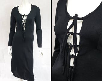 """Vintage 1970s cut out detail dress with ties to bust by John Marks SIZE: UK 8 31"""" 32"""" 33"""" Bust 70s Glam Disco Studio 54 Boho Goth Punk"""
