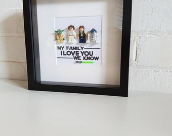 Star Wars//Family//Minifigures//Gift//Shadow Box Frame//Personalised//Geek//Family Portrait//Lego//Geek//Mothers Day//Fathers Day//Birthday